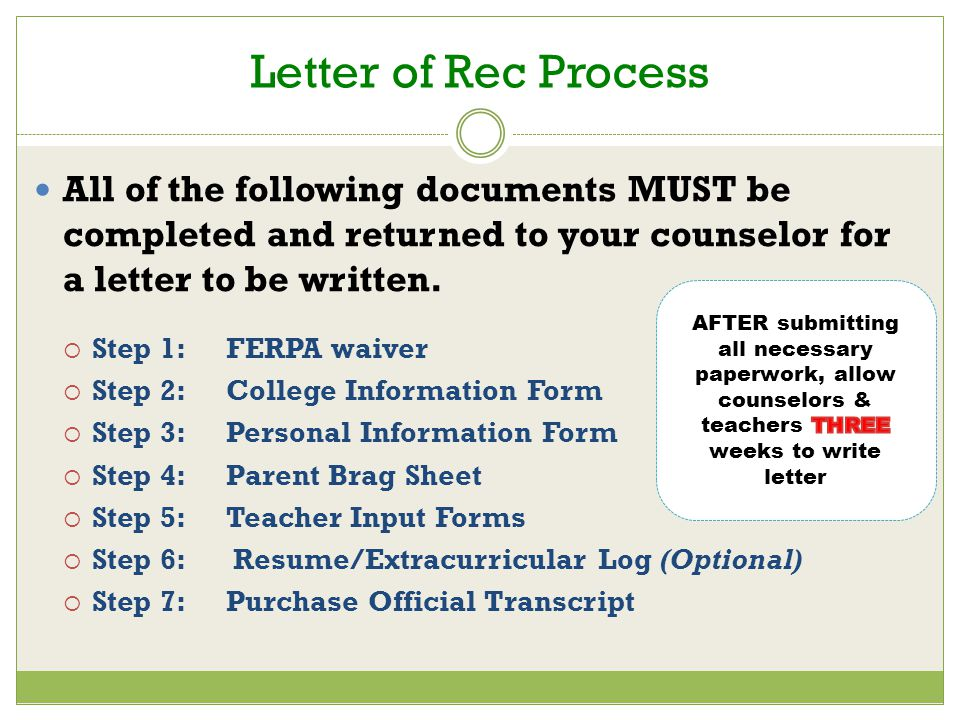 Letter of Rec Process All of the following documents MUST be completed and returned to your counselor for a letter to be written.
