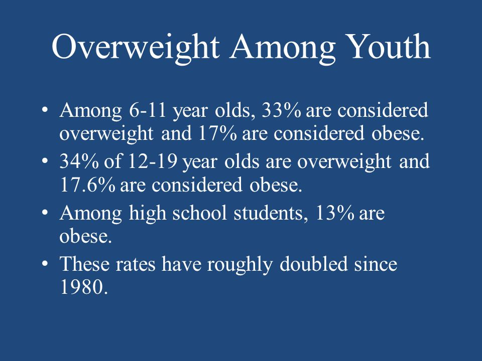 Overweight Among Youth Among 6-11 year olds, 33% are considered overweight and 17% are considered obese.