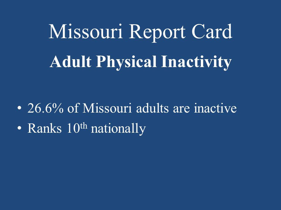 Missouri Report Card Adult Physical Inactivity 26.6% of Missouri adults are inactive Ranks 10 th nationally