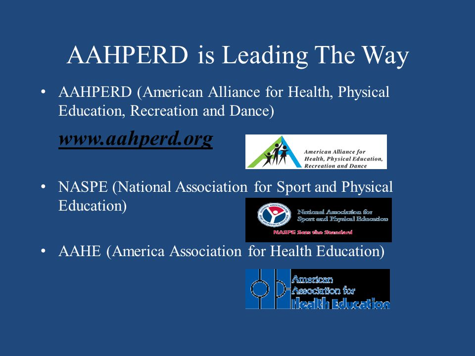 AAHPERD is Leading The Way AAHPERD (American Alliance for Health, Physical Education, Recreation and Dance) www.aahperd.org NASPE (National Association for Sport and Physical Education) AAHE (America Association for Health Education)