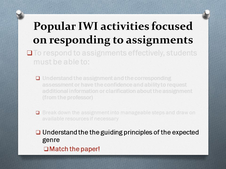 Popular IWI activities focused on responding to assignments  To respond to assignments effectively, students must be able to:  Understand the assign
