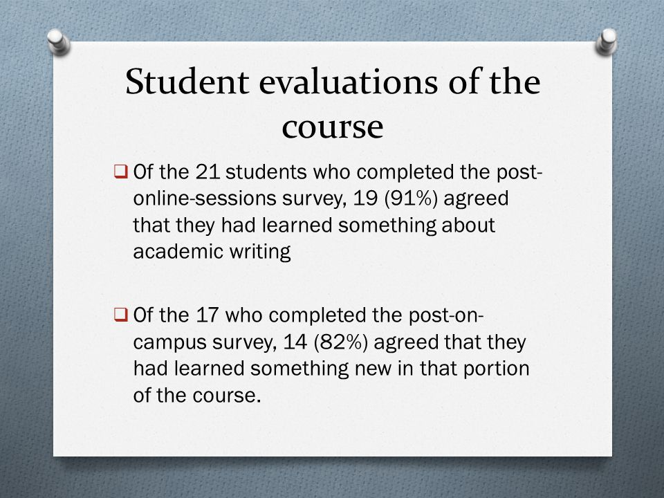 Student evaluations of the course  Of the 21 students who completed the post- online-sessions survey, 19 (91%) agreed that they had learned something