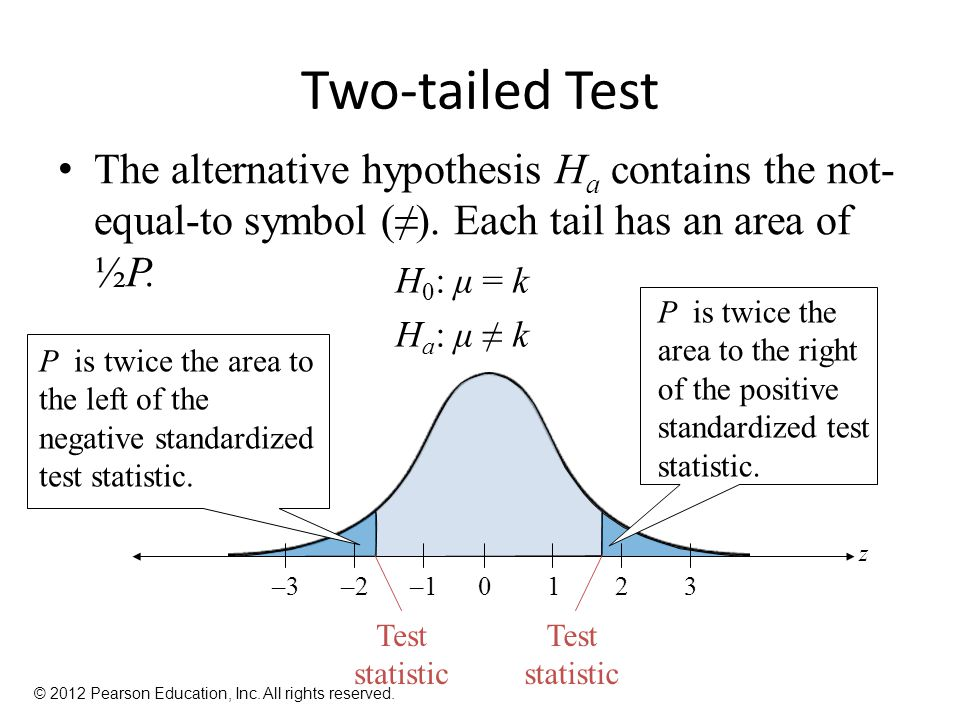 Two-tailed Test The alternative hypothesis H a contains the not- equal-to symbol (≠).