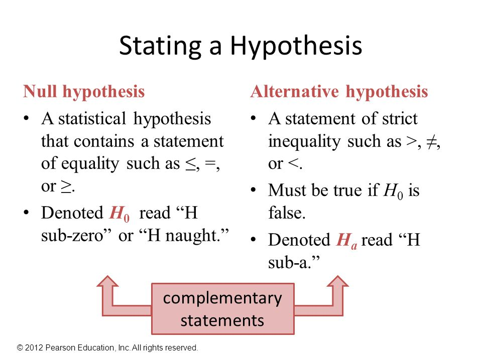 Stating a Hypothesis Null hypothesis A statistical hypothesis that contains a statement of equality such as ≤, =, or ≥.
