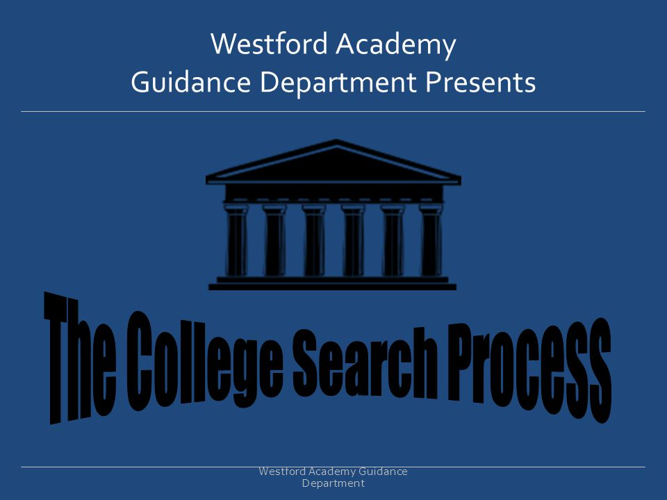 Finding the BEST FIT College Westford Academy Guidance Department The college search is not about getting into the best college.