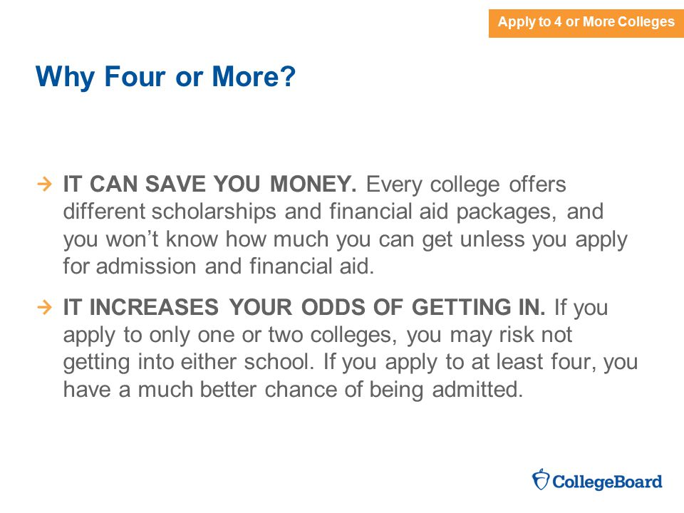 Apply to 4 or More Colleges Why Four or More. IT CAN SAVE YOU MONEY.