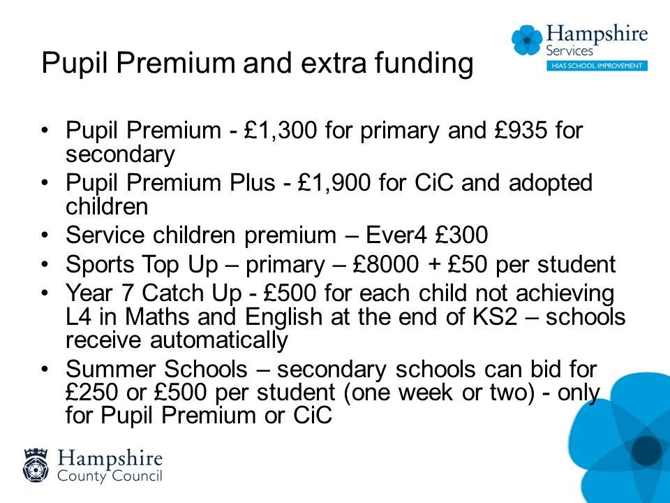 Pupil Premium and extra funding Pupil Premium - £1,300 for primary and £935 for secondary Pupil Premium Plus - £1,900 for CiC and adopted children Service children premium – Ever4 £300 Sports Top Up – primary – £8000 + £50 per student Year 7 Catch Up - £500 for each child not achieving L4 in Maths and English at the end of KS2 – schools receive automatically Summer Schools – secondary schools can bid for £250 or £500 per student (one week or two) - only for Pupil Premium or CiC