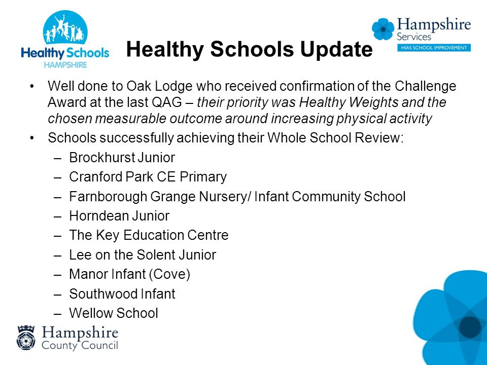 Healthy Schools Update Well done to Oak Lodge who received confirmation of the Challenge Award at the last QAG – their priority was Healthy Weights and the chosen measurable outcome around increasing physical activity Schools successfully achieving their Whole School Review: –Brockhurst Junior –Cranford Park CE Primary –Farnborough Grange Nursery/ Infant Community School –Horndean Junior –The Key Education Centre –Lee on the Solent Junior –Manor Infant (Cove) –Southwood Infant –Wellow School
