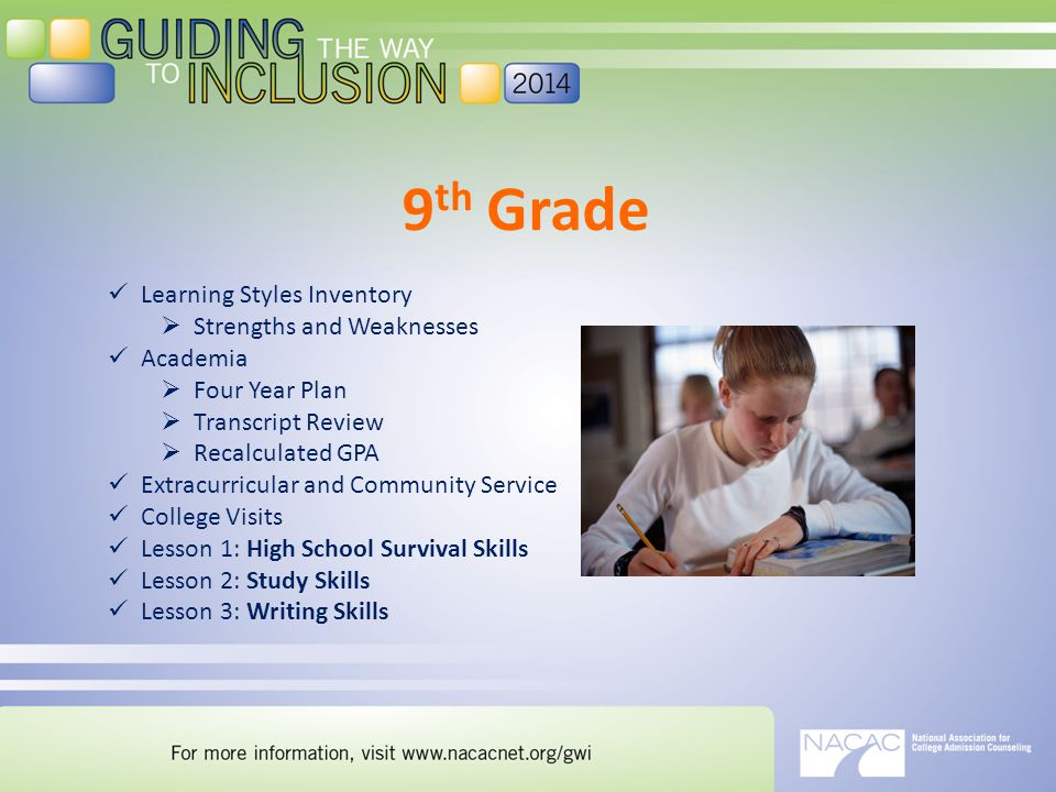 9 th Grade Learning Styles Inventory  Strengths and Weaknesses Academia  Four Year Plan  Transcript Review  Recalculated GPA Extracurricular and Community Service College Visits Lesson 1: High School Survival Skills Lesson 2: Study Skills Lesson 3: Writing Skills