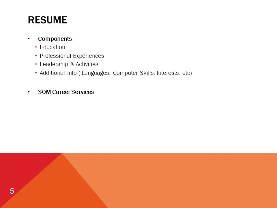 5 RESUME Components Education Professional Experiences Leadership & Activities Additional Info ( Languages, Computer Skills, Interests, etc) SOM Career Services