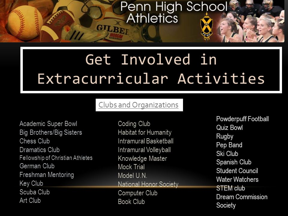 Get Involved in Extracurricular Activities Academic Super Bowl Big Brothers/Big Sisters Chess Club Dramatics Club Fellowship of Christian Athletes German Club Freshman Mentoring Key Club Scuba Club Art Club Coding Club Habitat for Humanity Intramural Basketball Intramural Volleyball Knowledge Master Mock Trial Model U.N.