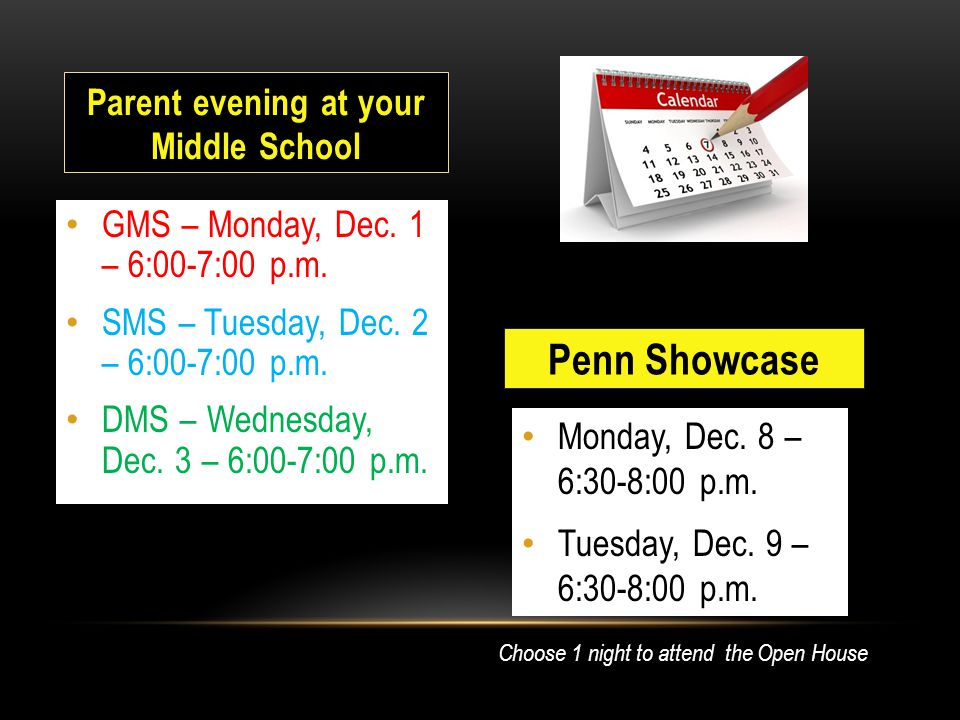 Monday, Dec. 8 – 6:30-8:00 p.m. Tuesday, Dec. 9 – 6:30-8:00 p.m.