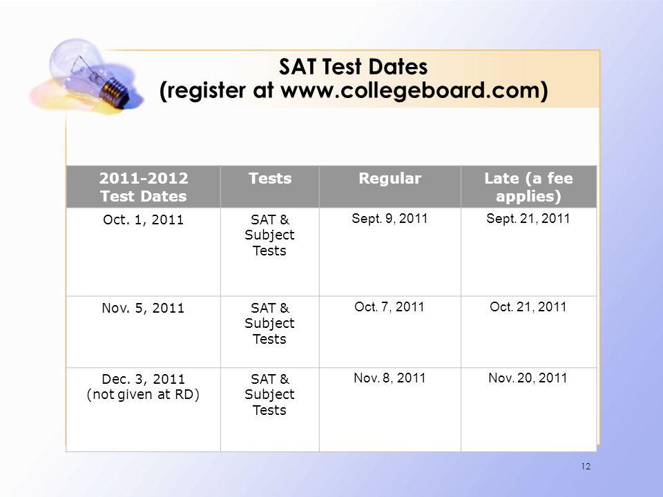 12 SAT Test Dates (register at www.collegeboard.com) 2011-2012 Test Dates TestsRegularLate (a fee applies) Oct. 1, 2011SAT & Subject Tests Sept. 9, 20