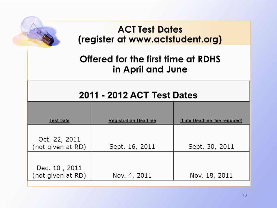 13 ACT Test Dates (register at www.actstudent.org) Offered for the first time at RDHS in April and June 2011 - 2012 ACT Test Dates Test DateRegistration Deadline(Late Deadline, fee required) Oct.