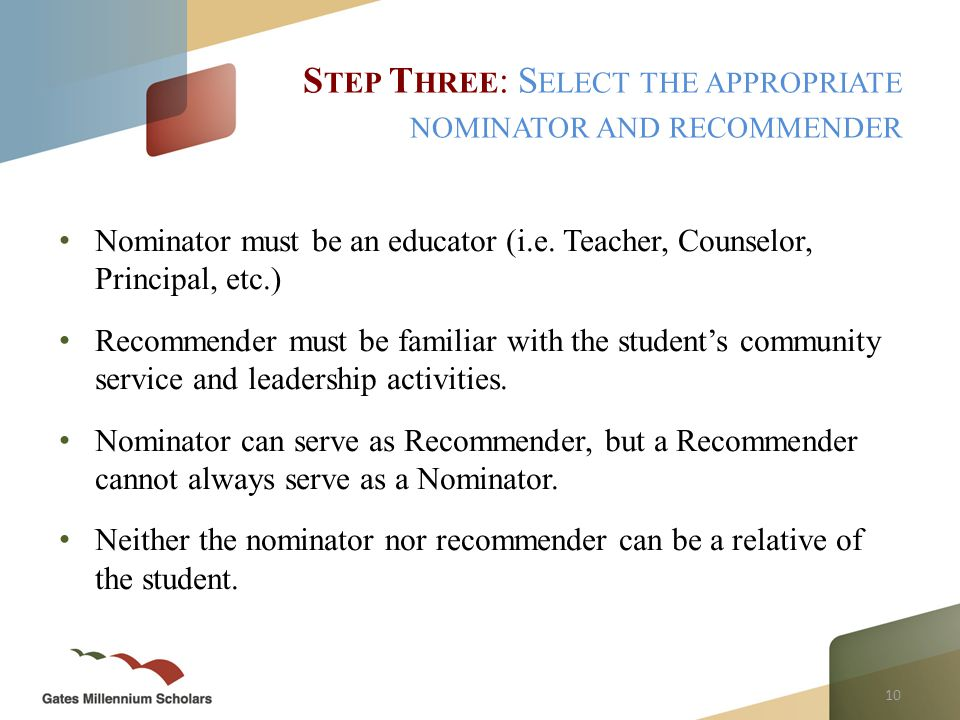 10 Nominator must be an educator (i.e.