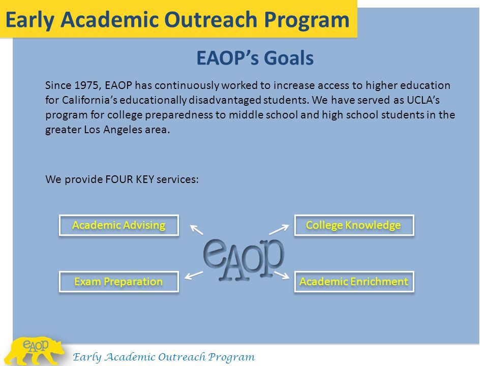 EAOP's Goals Early Academic Outreach Program Since 1975, EAOP has continuously worked to increase access to higher education for California's educatio