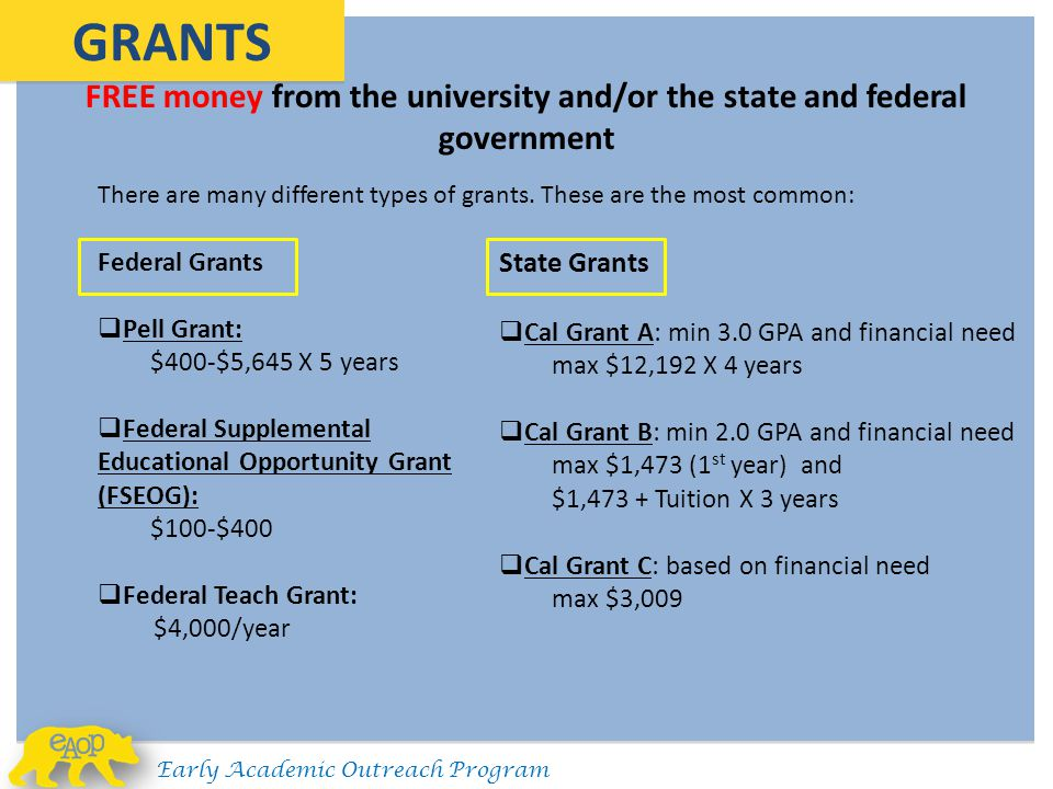 FREE money from the university and/or the state and federal government GRANTS There are many different types of grants. These are the most common: Fed