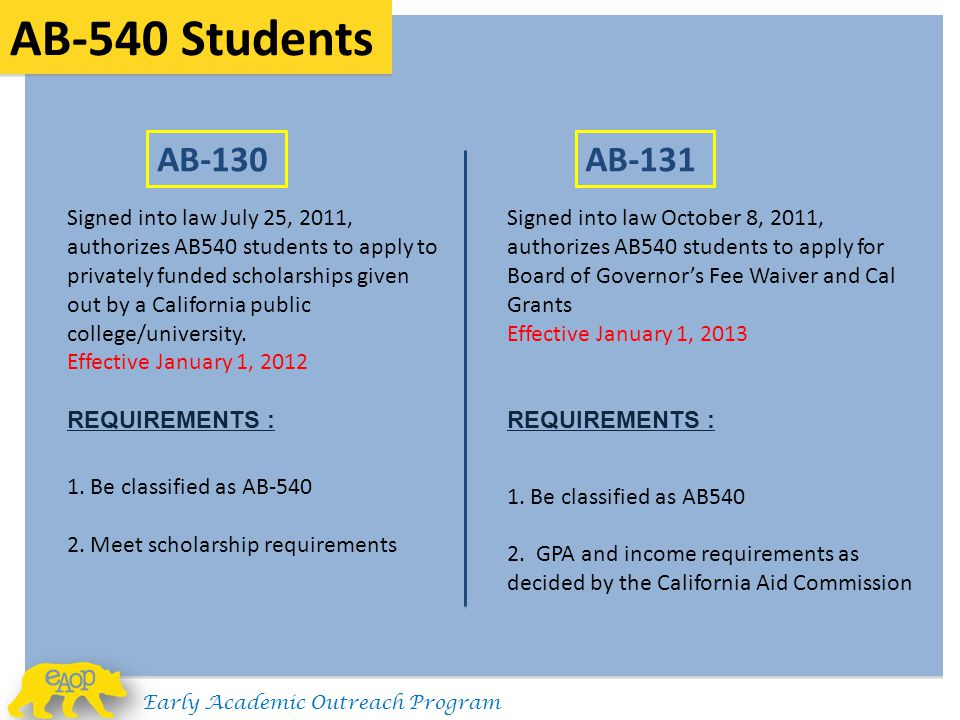 AB-540 Students Signed into law July 25, 2011, authorizes AB540 students to apply to privately funded scholarships given out by a California public co