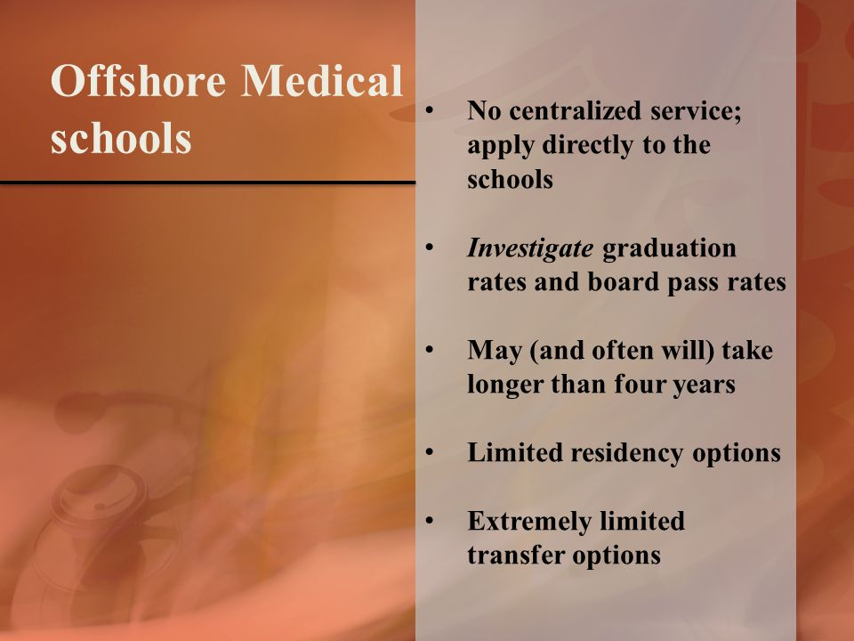 No centralized service; apply directly to the schools Investigate graduation rates and board pass rates May (and often will) take longer than four years Limited residency options Extremely limited transfer options Offshore Medical schools