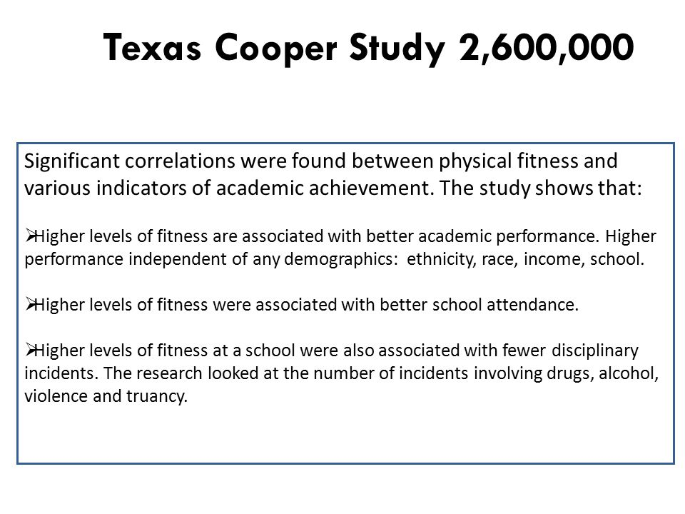 Texas Cooper Study 2,600,000 Significant correlations were found between physical fitness and various indicators of academic achievement.
