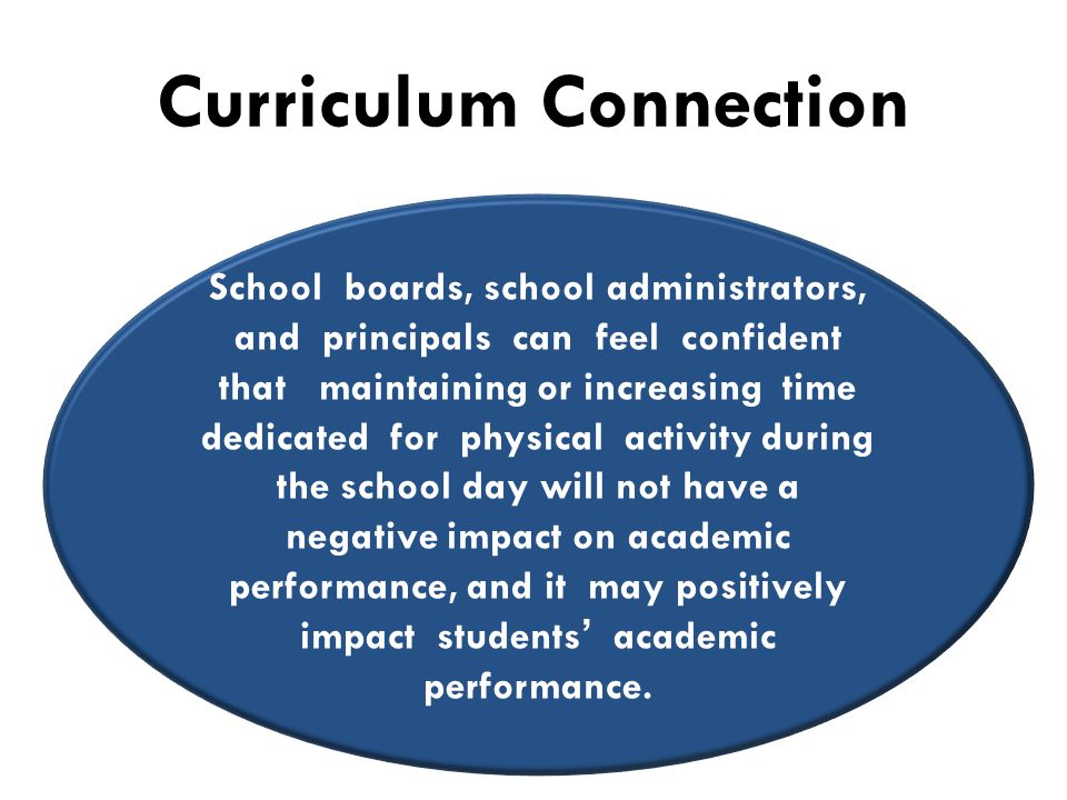 Curriculum Connection School boards, school administrators, and principals can feel confident that maintaining or increasing time dedicated for physical activity during the school day will not have a negative impact on academic performance, and it may positively impact students' academic performance.