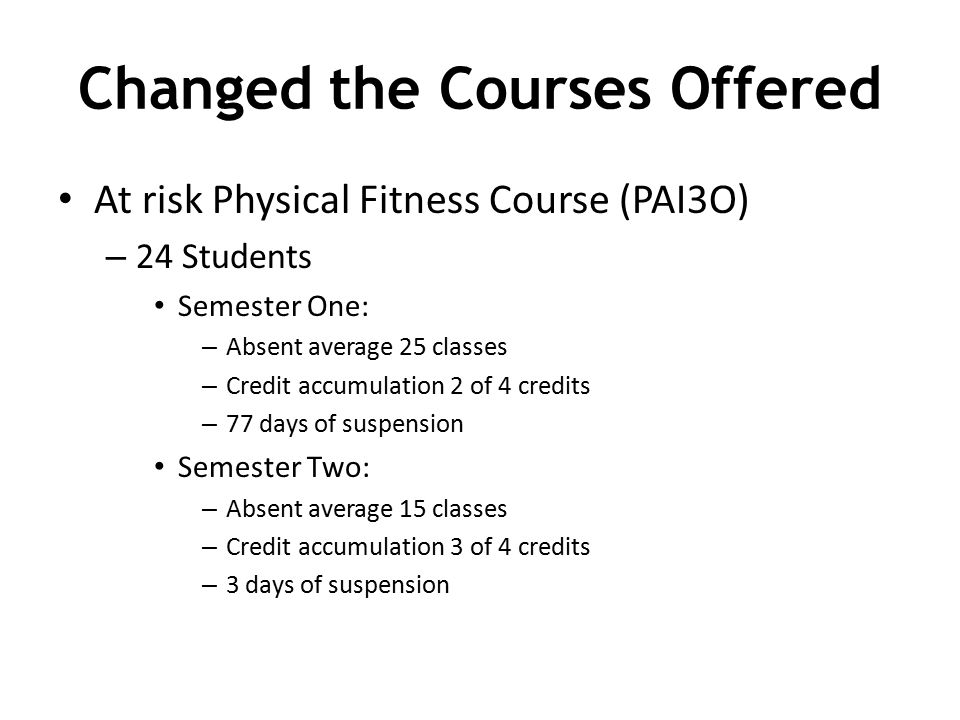 Changed the Courses Offered At risk Physical Fitness Course (PAI3O) – 24 Students Semester One: – Absent average 25 classes – Credit accumulation 2 of 4 credits – 77 days of suspension Semester Two: – Absent average 15 classes – Credit accumulation 3 of 4 credits – 3 days of suspension