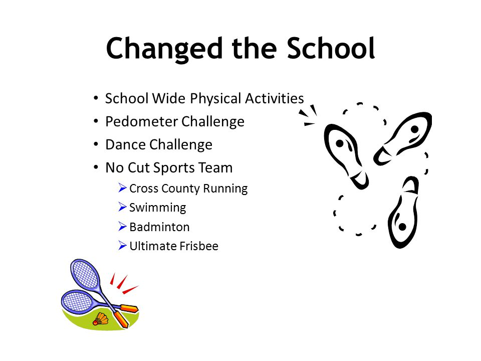 School Wide Physical Activities Pedometer Challenge Dance Challenge No Cut Sports Team  Cross County Running  Swimming  Badminton  Ultimate Frisbe