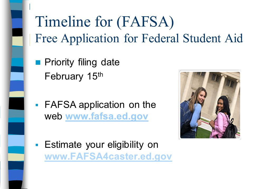 Timeline for (FAFSA) Free Application for Federal Student Aid Priority filing date February 15 th  FAFSA application on the web www.fafsa.ed.govwww.f