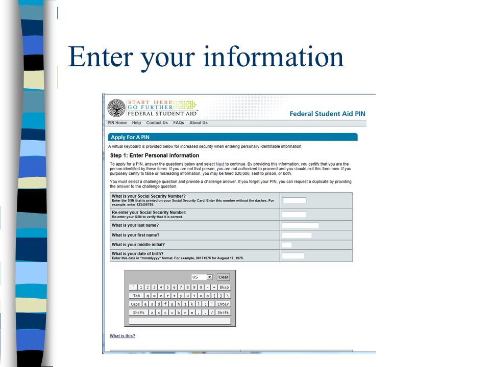 Enter your information