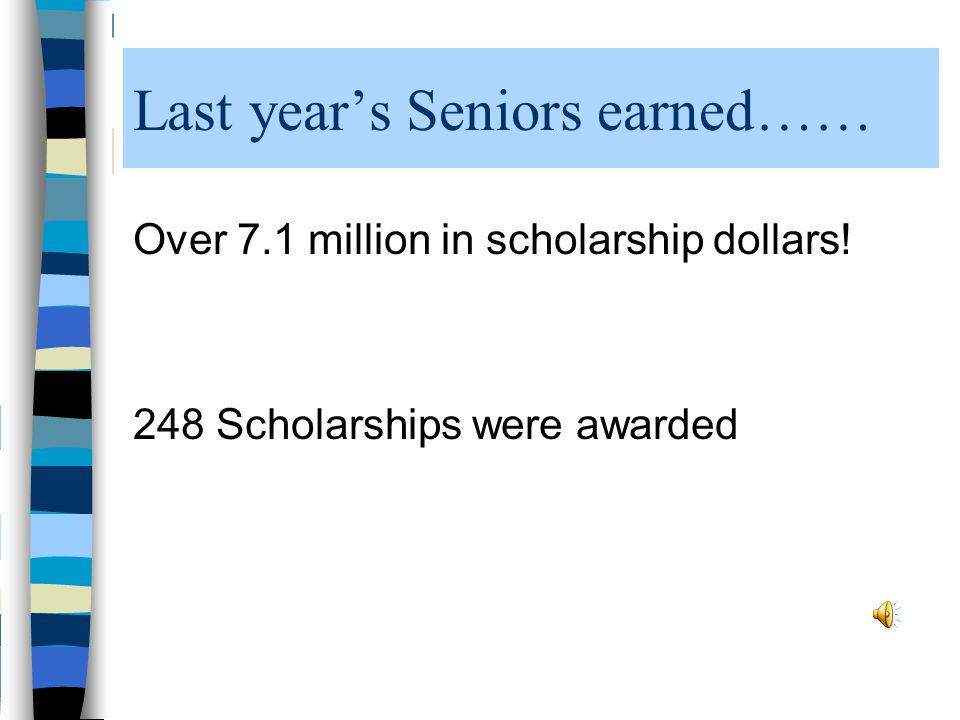 Last year's Seniors earned…… Over 7.1 million in scholarship dollars! 248 Scholarships were awarded