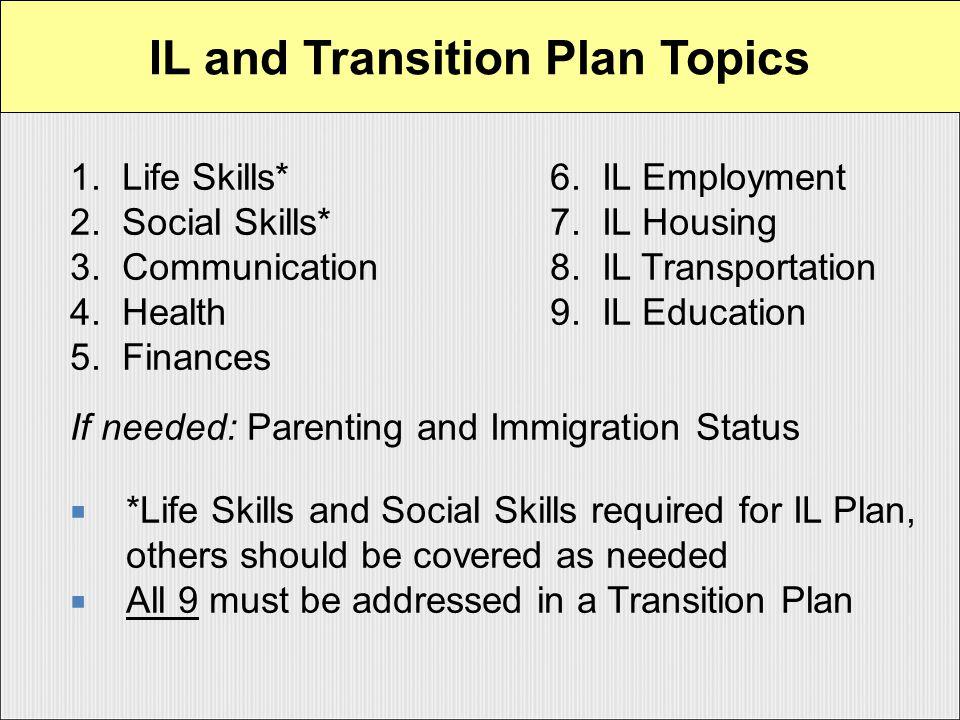 1. Life Skills*6. IL Employment 2. Social Skills*7.