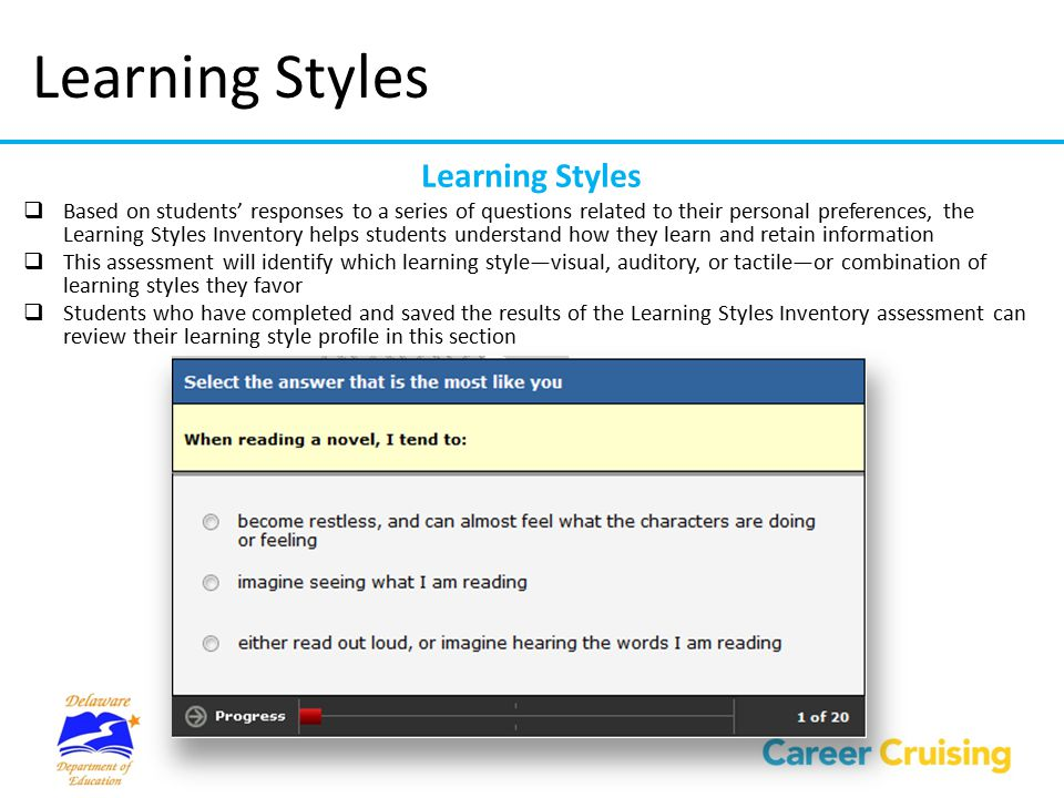 Learning Styles  Based on students' responses to a series of questions related to their personal preferences, the Learning Styles Inventory helps stu