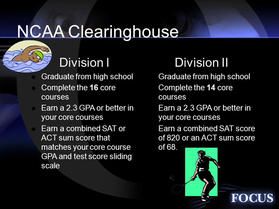 Division I  Graduate from high school  Complete the 16 core courses  Earn a 2.3 GPA or better in your core courses  Earn a combined SAT or ACT sum score that matches your core course GPA and test score sliding scale Division II  Graduate from high school  Complete the 14 core courses  Earn a 2.3 GPA or better in your core courses  Earn a combined SAT score of 820 or an ACT sum score of 68.
