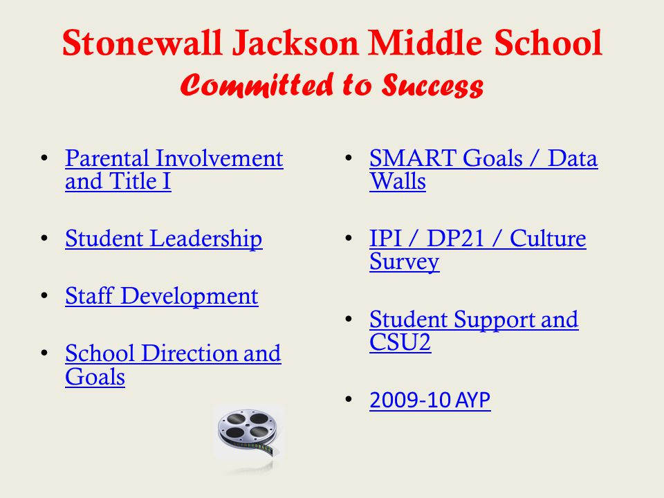 Stonewall Jackson Middle School Committed to Success Parental Involvement and Title I Parental Involvement and Title I Student Leadership Staff Develo