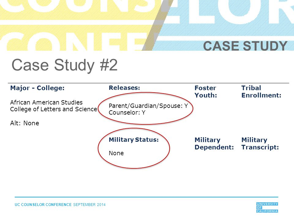 UC COUNSELOR CONFERENCE SEPTEMBER 2014 Major - College: African American Studies College of Letters and Science Alt: None Releases: Parent/Guardian/Spouse: Y Counselor: Y Foster Youth: Tribal Enrollment: Military Status: None Military Dependent: Military Transcript: Case Study #2 CASE STUDY
