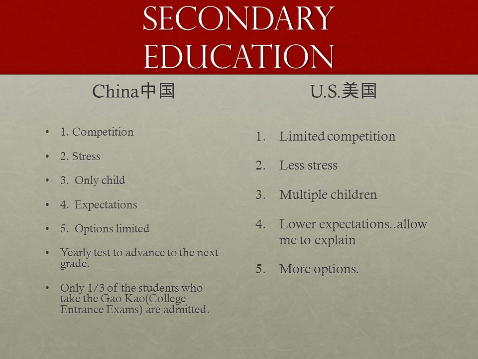 Secondary Education China 中国 1. Competition1. Competition 2. Stress2. Stress 3. Only child3. Only child 4. Expectations4. Expectations 5. Options limi