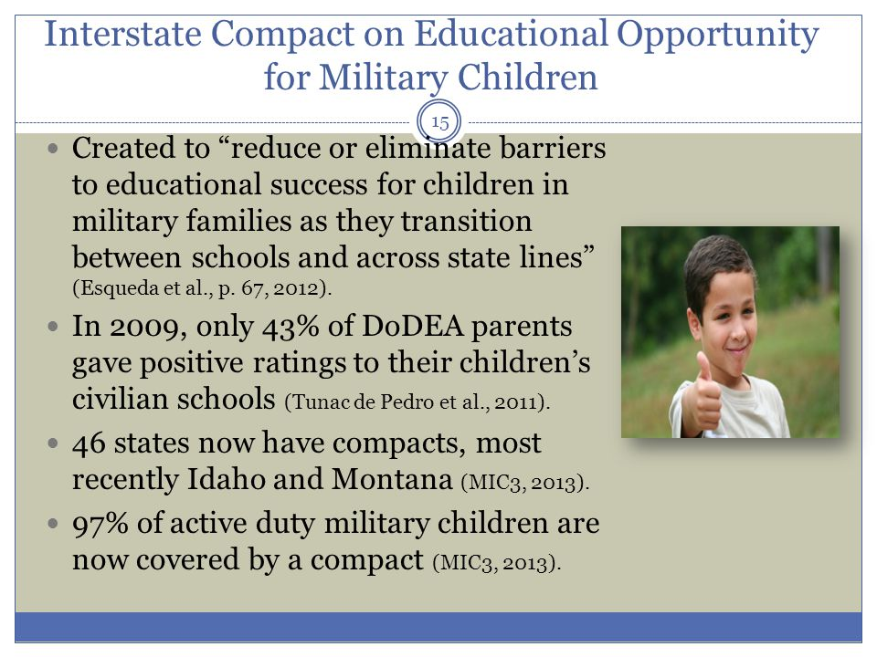 Interstate Compact on Educational Opportunity for Military Children Created to reduce or eliminate barriers to educational success for children in military families as they transition between schools and across state lines (Esqueda et al., p.