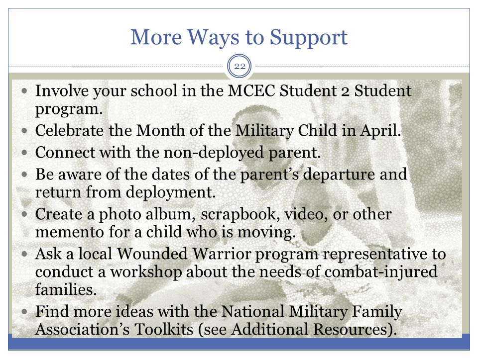 More Ways to Support Involve your school in the MCEC Student 2 Student program.