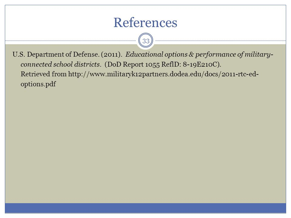 References U.S. Department of Defense. (2011).