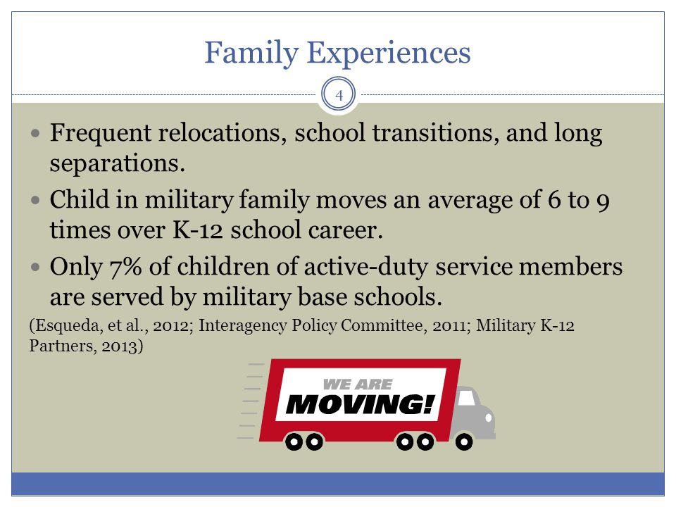 Family Experiences Frequent relocations, school transitions, and long separations.