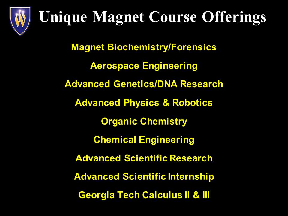 Magnet Biochemistry/Forensics Aerospace Engineering Advanced Genetics/DNA Research Advanced Physics & Robotics Organic Chemistry Chemical Engineering Advanced Scientific Research Advanced Scientific Internship Georgia Tech Calculus II & III Unique Magnet Course Offerings