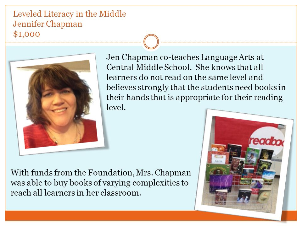 Leveled Literacy in the Middle Jennifer Chapman $1,000 Jen Chapman co-teaches Language Arts at Central Middle School.