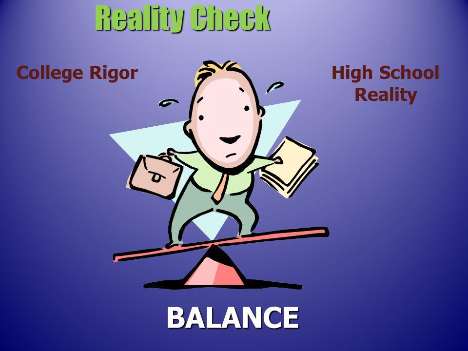 College RigorHigh School Reality BALANCE Reality Check