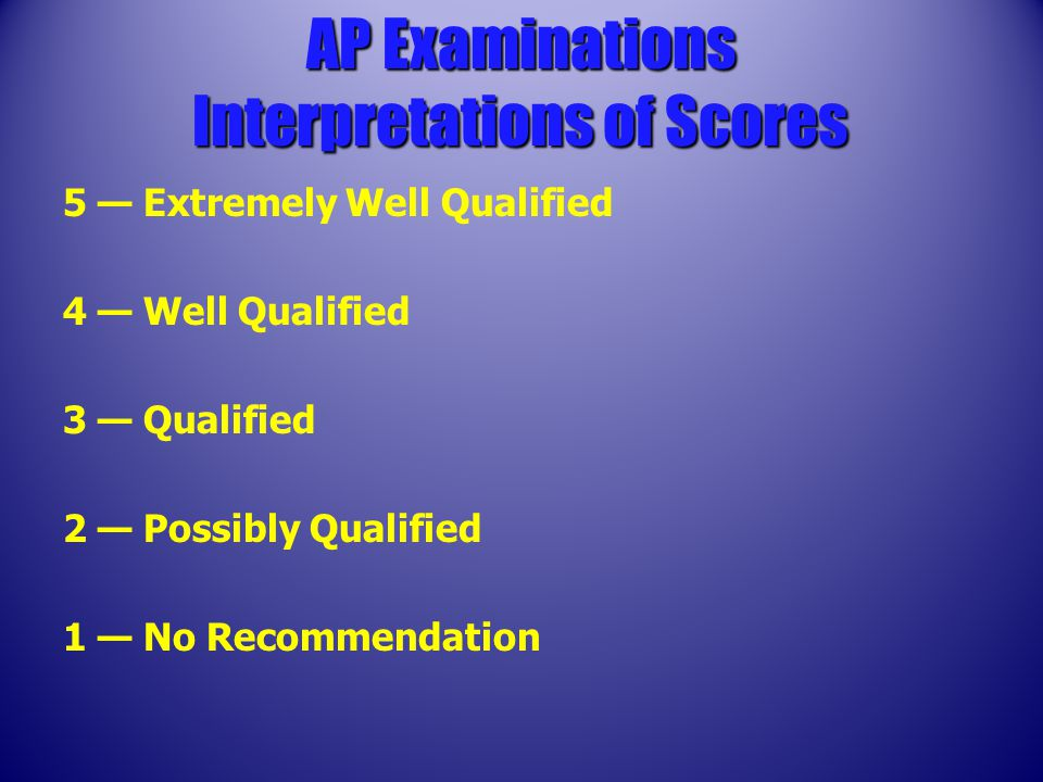 5 — Extremely Well Qualified 4 — Well Qualified 3 — Qualified 2 — Possibly Qualified 1 — No Recommendation AP Examinations Interpretations of Scores