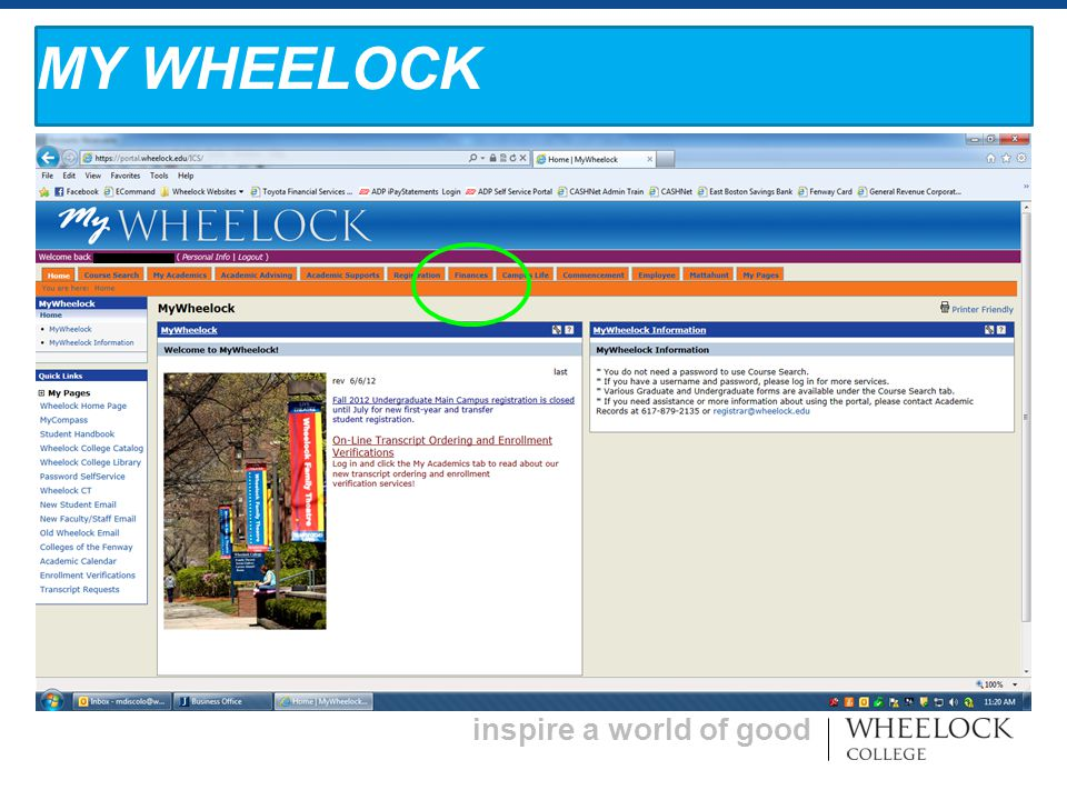 inspire a world of good MY WHEELOCK
