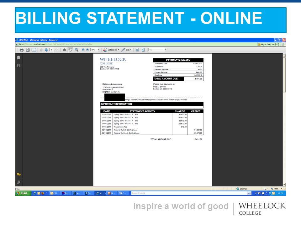 inspire a world of good BILLING STATEMENT - ONLINE
