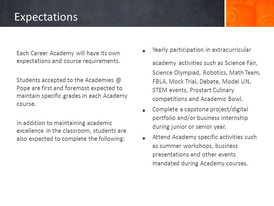Expectations Each Career Academy will have its own expectations and course requirements.