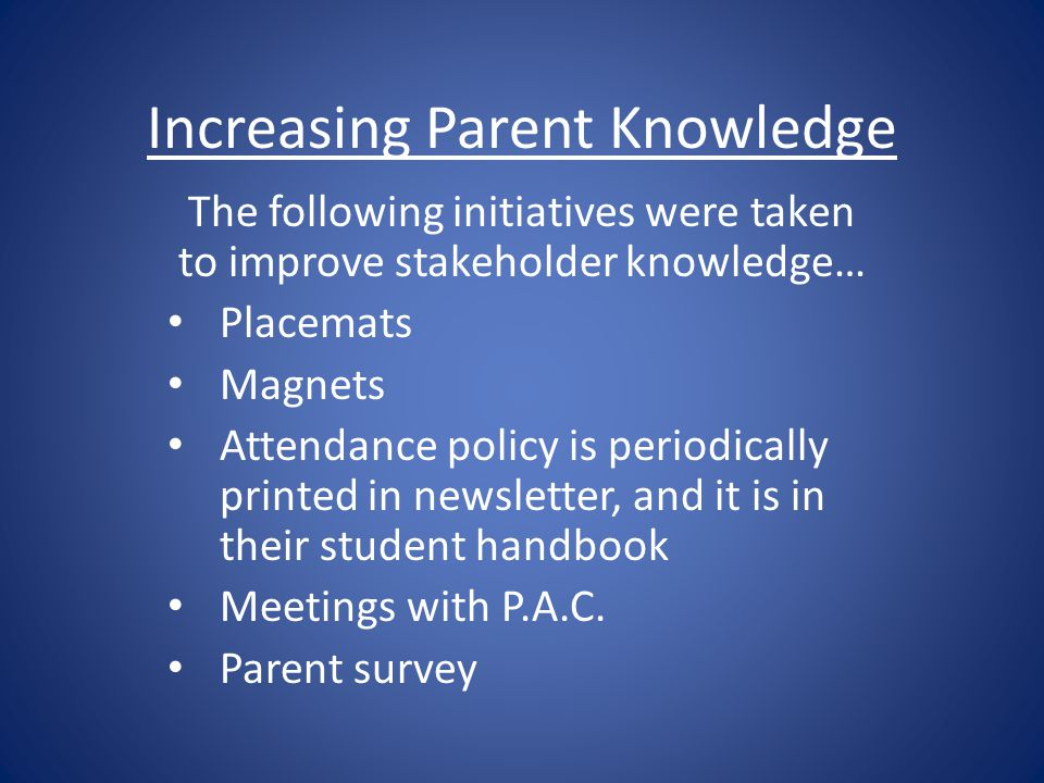 Increasing Parent Knowledge The following initiatives were taken to improve stakeholder knowledge… Placemats Magnets Attendance policy is periodically printed in newsletter, and it is in their student handbook Meetings with P.A.C.