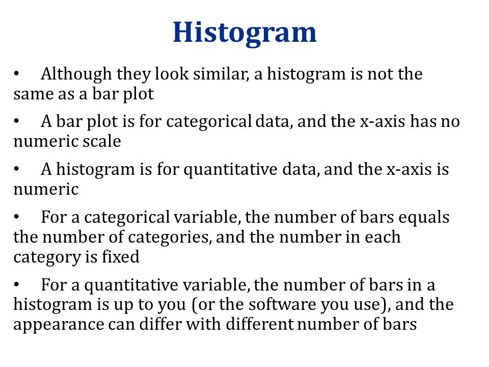Histogram Although they look similar, a histogram is not the same as a bar plot A bar plot is for categorical data, and the x-axis has no numeric scal