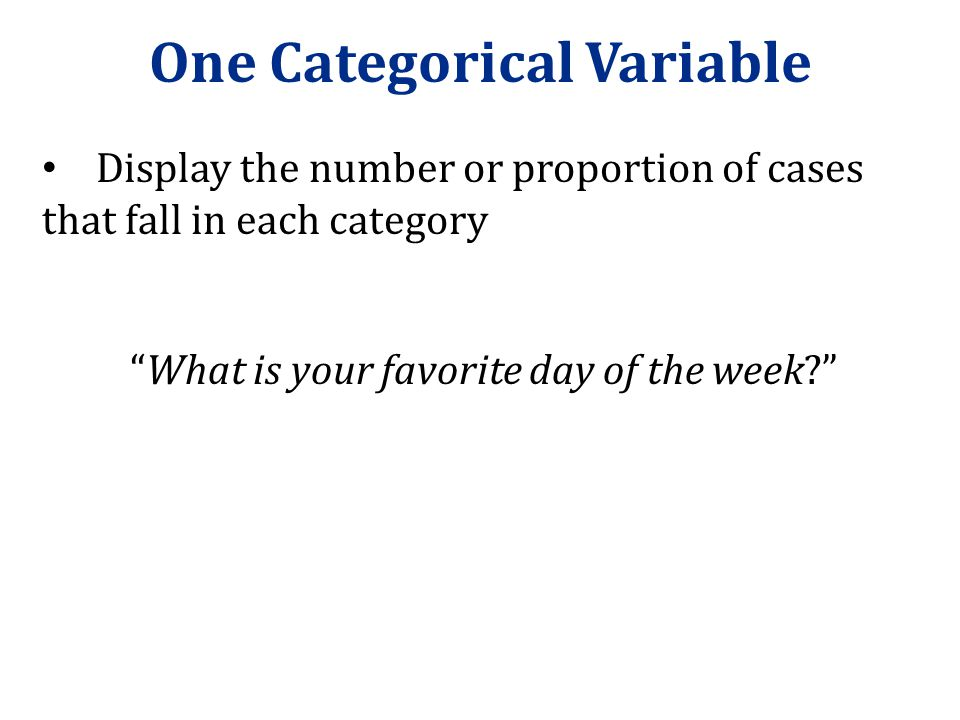 Frequency Table MondayTuesdayWednesdayThursdayFridaySaturdaySunday 116121067112 R: table(fav_day) A frequency table shows the number of cases that fall in each category: